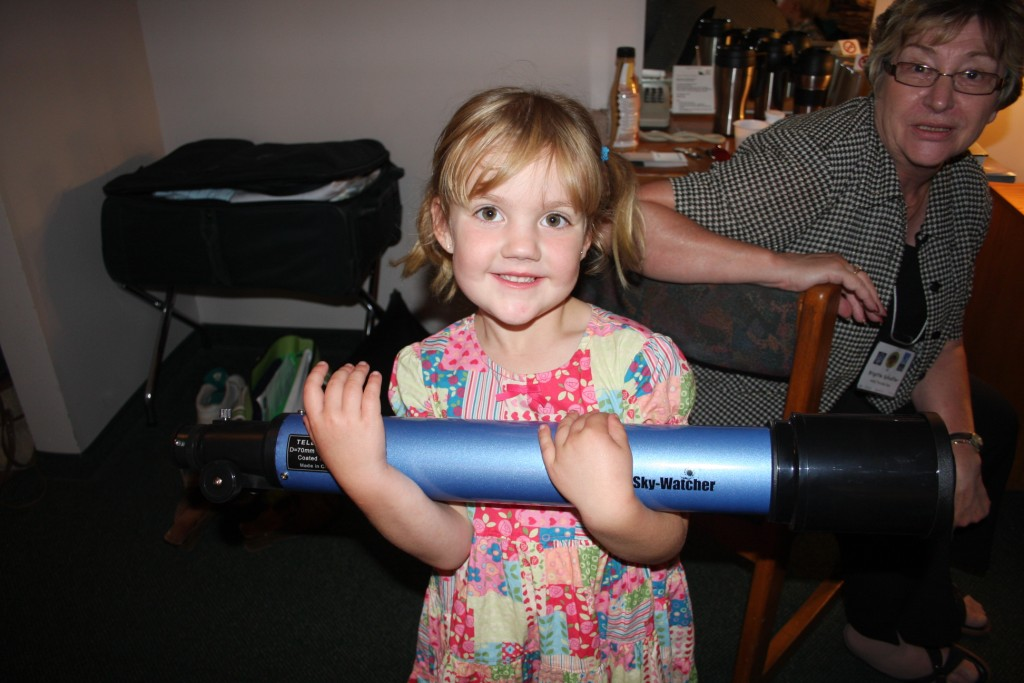 Hayley and her first telescope won at the 2009GA